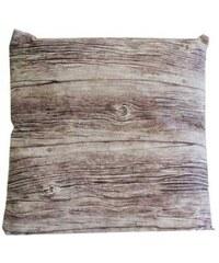 StarDeco Polštář hnědý, vzhled - imitace dřeva