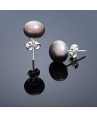 Buka Jewelry Perlové vpichovací náušnice malá – hnědá 304B