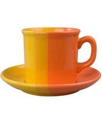 Šálek s podšálkem univerzal oranžová/žlutý 240ml