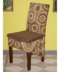 Jídelní židle CECILY - mahagon - banánový list