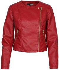Tally Weijl Red Leather Biker Jacket with Diagonal Zip