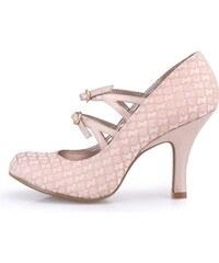 Světle růžové vzorované boty na podpatku s pásky Ruby Shoo Alexis