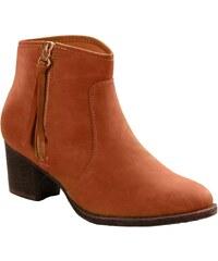 Blancheporte Kotníkové boty na zip koňaková