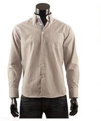 Pánská košile s proužkem Boston Public - hnědá