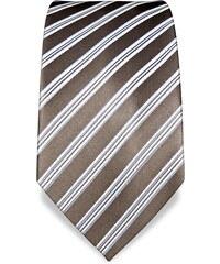 Sépiová kravata s proužkem Vincenzo Boretti 1888
