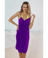 LM moda Plážové zavinovací šaty jednobarevné fialové