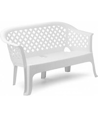Plastová zahradní lavice Lariana bílá
