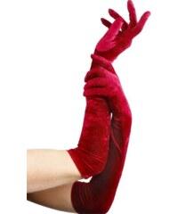 Sametové rukavice červené 53 cm