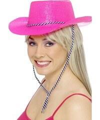Klobouk Kovboj glitter růžový