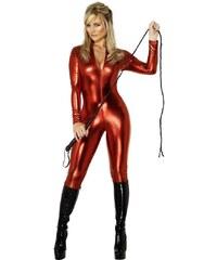 Kostým Kočičí oblek červený Velikost M 40-42