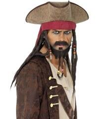 Klobouk Pirátský s vlasy a šátkem