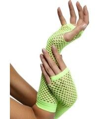 Síťované rukavice neon zelené bez prstů