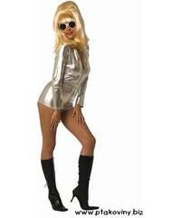 Kostým Crazy girl stříbrná