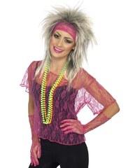 Krajkové tričko, rukavice, čelenka neonová růžov