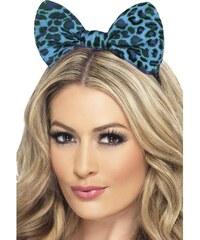 Leopardí mašle na čelence modrá