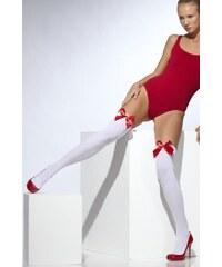 Punčochy bílé s červenou mašlí