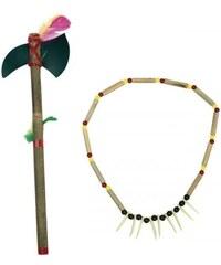 Indiánský náhrdelník a tomahawk nebo oštěp