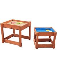 Sun Spieltisch-Set aus Holz für Sand und Wasser mit Abdeckplane, braun