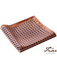 Fišer Hedvábný kapesníček oranžový modré puntíky FI215