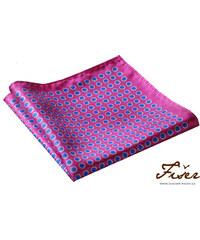 Fišer Hedvábný kapesníček růžový modré puntíky FI214