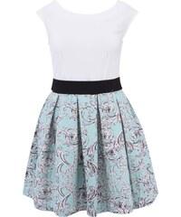 Bílé šaty s mentolovou vzorovanou sukní Closet