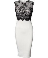 LM moda A Elegantní pouzdrové šaty s krajkou bílé OH502 68c5cd26e8