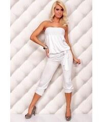 LM moda A Luxusní dámský overal s řasením bílý LM fa095a90b1