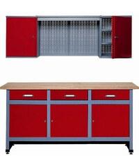 KÜPPER Werkbank-Set 1,70 m, rot, in verschiedenen Höhen