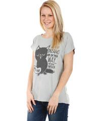 TopMode Moderní tričko s potiskem šedá