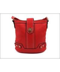 Pohodlná červená kabelka se zlatým kováním