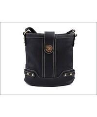 Pohodlná černá kabelka se zlatým kováním