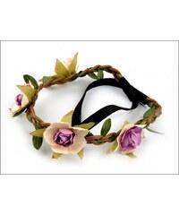 Pružná čelenka lila květy