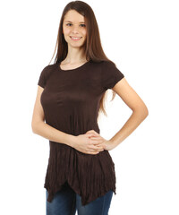 TopMode Pohodlné tričko s krátkým rukávem tmavě hnědá