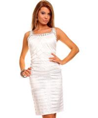 Elegantní pouzdrové šaty značky Mayaadi Deluxe - bílé