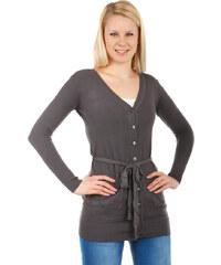 TopMode Krásný jednoduchý svetr na knoflíky tmavě šedá