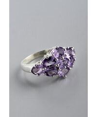 Stříbrný prsten s ametysty PK017