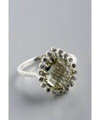 Stříbrný prsten se zeleným ametystem a zirkony PK022
