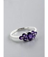 Stříbrný prsten s ametysty PK029