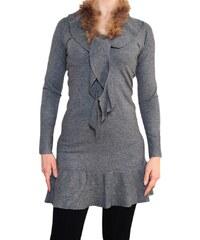 VesTem Dámské šedé šatý s kožíškem kolem krku