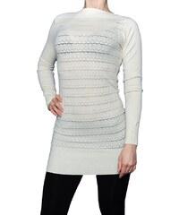 VesTem Dámská pletená jemná bílá tunika se vzorem