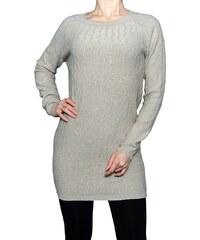VesTem Klasický dlouhý světlo béžový svetr s kulatým výstřihem