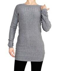 VesTem Klasický teplý dlouhý šedý svetr s kulatým výstřihem