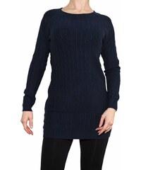 VesTem Klasický dlouhý modrý svetr s angory a kulatým výstřihem