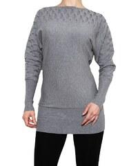 VesTem Dlouhý teplý šedý svetr s netopýřími rukávy k legínám