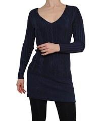 VesTem Pletené modrý šaty s hezkým vertikálním vzorem a výstřihem do véčká