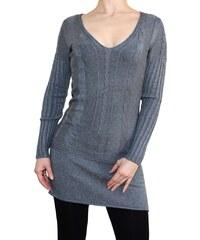 VesTem Pletené šedý šaty s hezkým vertikálním vzorem a výstřihem do véčká