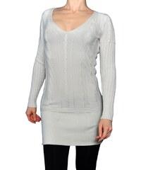 VesTem Pletené světlo béžový šaty s hezkým vertikálním vzorem a výstřihem do véčká