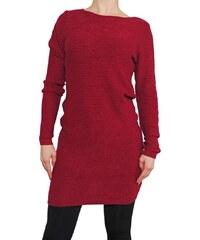 VesTem Dlouhá tunika s horizontální pruhy Wendy Trendy vinný barvy