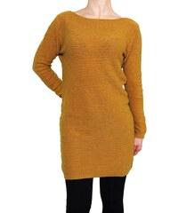 VesTem Dlouhá teplá tmavě žlutá tunika s horizontální pruhy Wendy Trendy