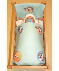 SDS Peřinky do postýlky pro panenky Looney Tunes modrá bavlna 38x44, 28x20 cm